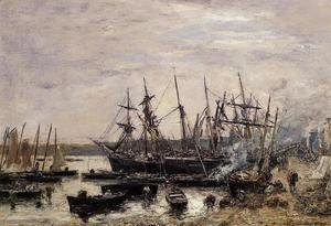 Eugène Boudin - Camaret, Fishing Boats at Dock