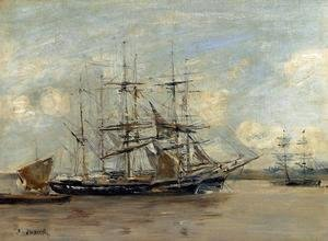 Eugène Boudin - Le Havre, Three Master at Anchor in the Harbor