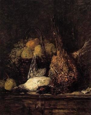 Eugène Boudin - Pheasant, Duck and Fruit
