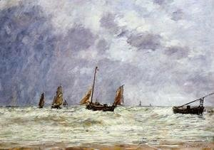 Eugène Boudin - Berck, the Departure of the Boats