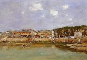 Eugène Boudin - The Port of Trouville, the Market Place and the Ferry
