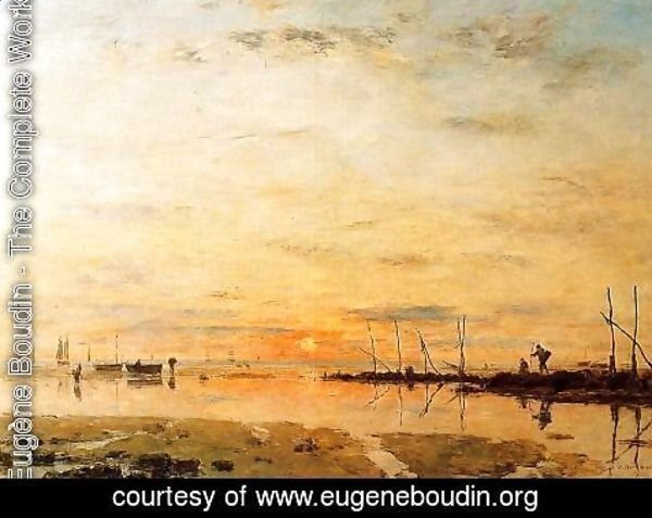 Eugène Boudin - Le Havre, Sunset at Low Tide