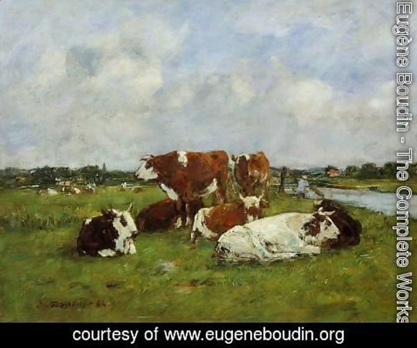 Eugène Boudin - Pasturage on the Banks of the Touques