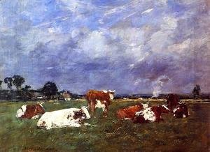 Eugène Boudin - Cows in the Pasture