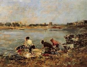 Eugène Boudin - Laundresses on the Banks of the Touques I