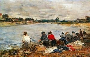 Eugène Boudin - Laundresses on the Banks of the Touques II