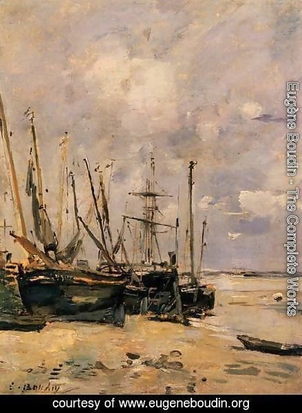 Eugène Boudin - Boats at the Beach at Low Tide
