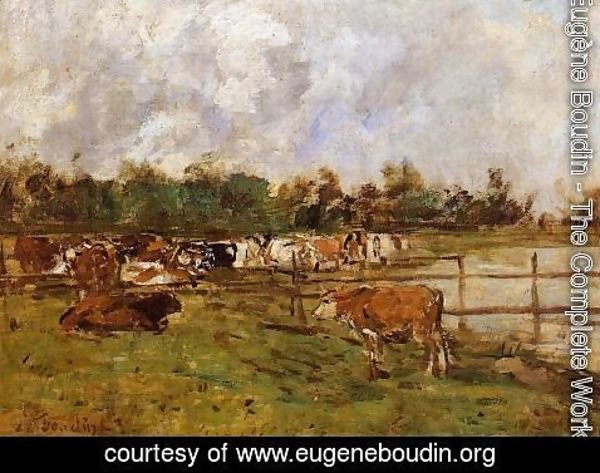 Eugène Boudin - Cows in the Meadow