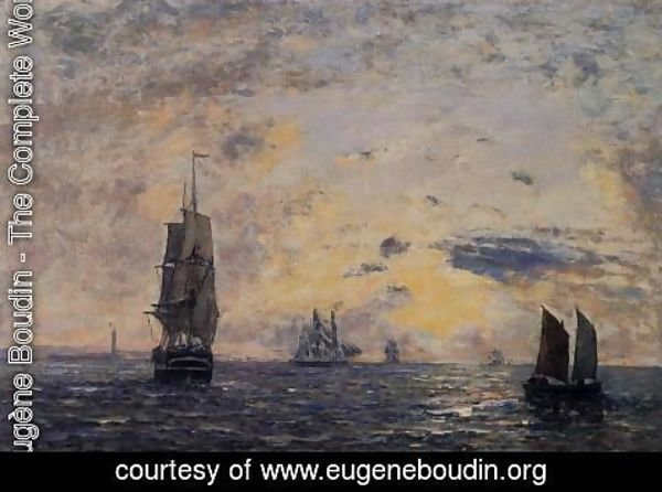 Eugène Boudin - Seascape, Fishing Boats