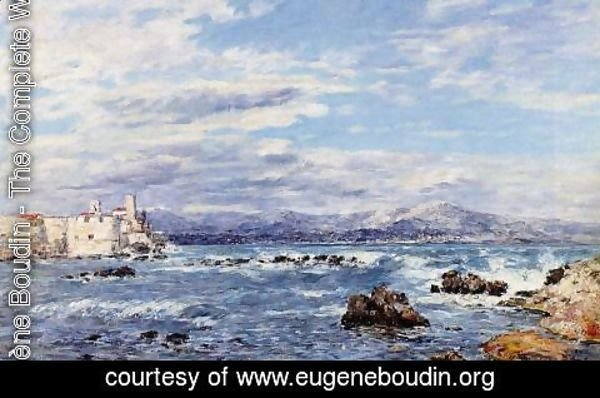 Eugène Boudin - A Gusty Northwest Wind at Antibes