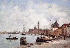 Eugène Boudin - Venice, the Dock of the Guidecca