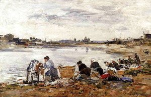 Eugène Boudin - Laundresses on the Banks of the Touques IV