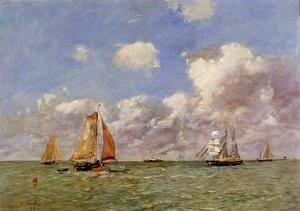 Eugène Boudin - Fishing Boats at Sea