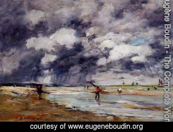 Eugène Boudin - Shore at Low Tide, Rainy Weather, near Trouville