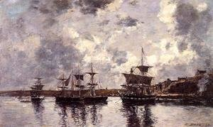 Eugène Boudin - Camaret, Three Masters Anchored in the Harbor