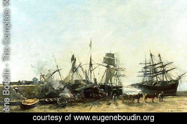 Eugène Boudin - Portrieux, the Port at Low Tide, Unloading Fish