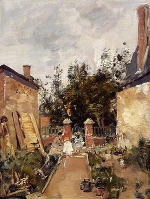 Eugène Boudin - Madame S with Her Children in Their Garden at Trouville