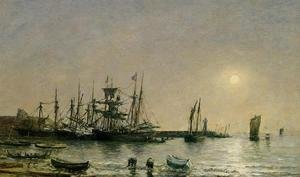 Eugène Boudin - Portrieux, Boats at Anchor in Port