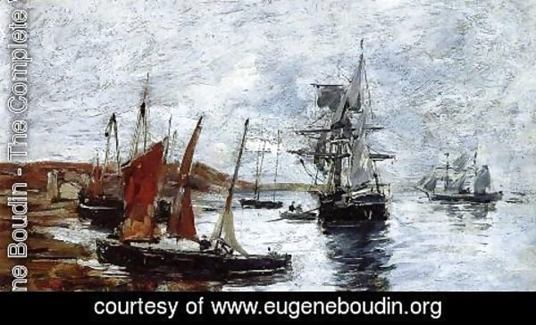 Eugène Boudin - Camaret, Boats on the Shore