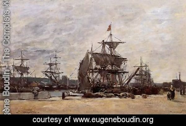 Eugène Boudin - Deauville, Docked Boats