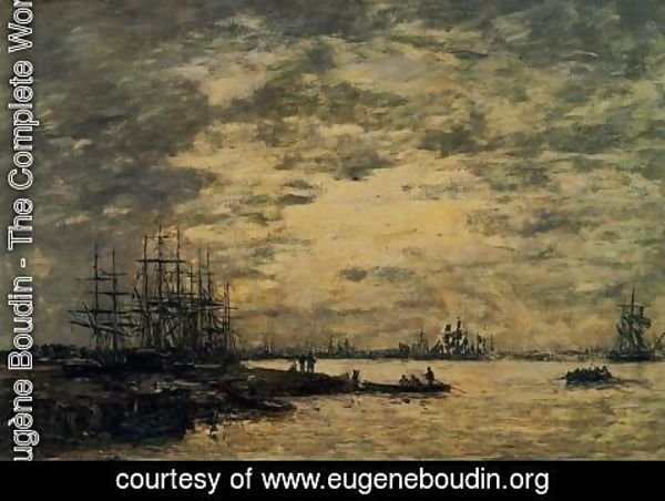 Eugène Boudin - Bordeaux, Boats on the Garonne