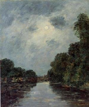 The Somme near D'Abbeville - Moonlight