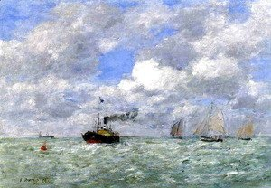 Eugène Boudin - English Coal Ship in View of Trouville