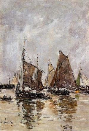 Eugène Boudin - Trouville, Sardine Boats Getting Underway