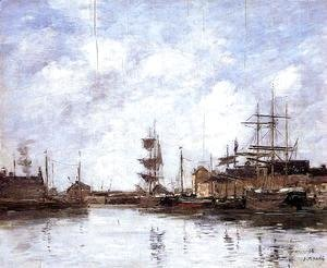 Eugène Boudin - Fecamp, the Inner Harbor