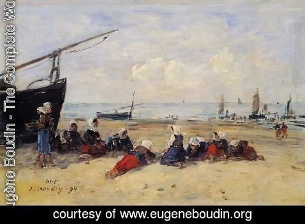 Eugène Boudin - Berck, Fisherwomen on the Beach, Low Tide