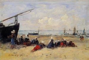 Berck, Fisherwomen on the Beach, Low Tide
