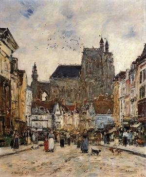 Eugène Boudin - Abbeville, Street and the Church of Saint-Vulfran