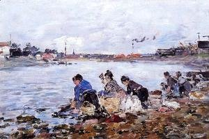 Eugène Boudin - Laundresses on the Banks of the Touques VI