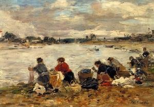 Eugène Boudin - Laundresses on the Banks of the Touques VII