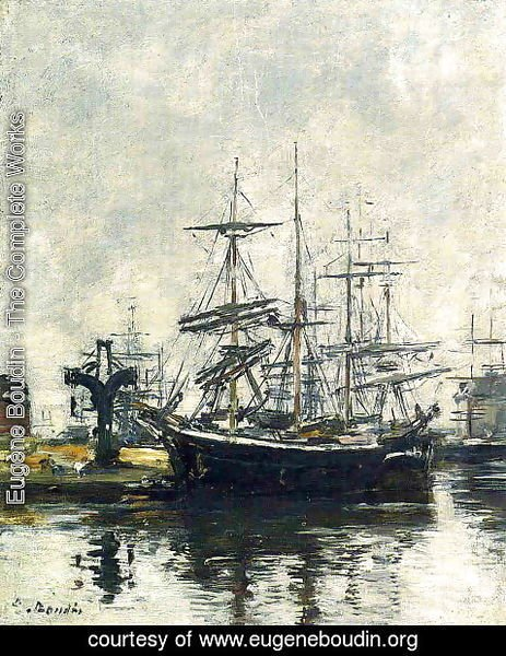 Eugène Boudin - Le Havre, Sailboats at Dock, Bassin de la Barre