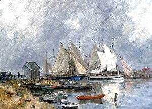 Eugène Boudin - Trouville, the Port, Boats and Dinghys