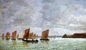 Eugène Boudin - Camaret, Fishing Boats off the Shore