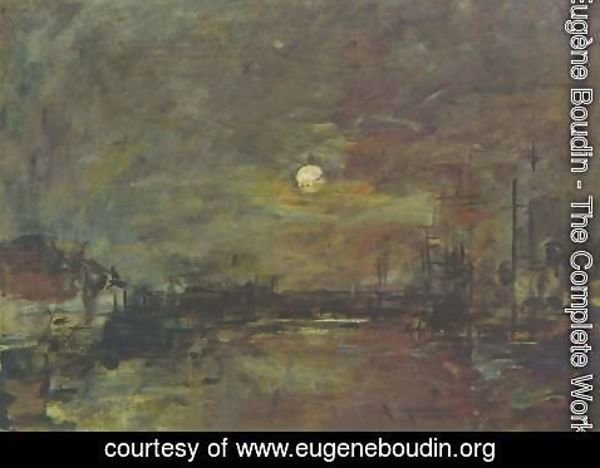 Eugène Boudin - Twilight over the Basin of Le Havre