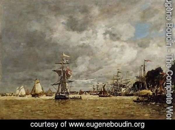 Eugène Boudin - Anvers, Boats on the Ecaut