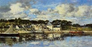 Eugène Boudin - Le Faou: The Village and the Port on the River