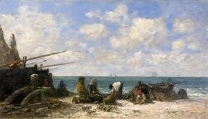 Eugène Boudin - Etretat: Fishermen on the Beach
