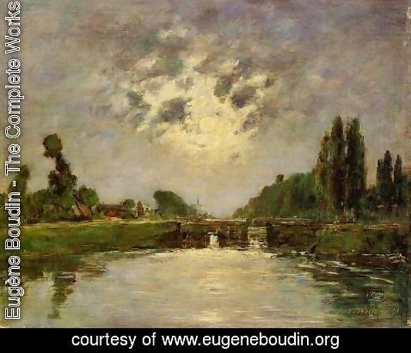 Eugène Boudin - Saint-Valery-sur-Somme, the Bridge on the Lock