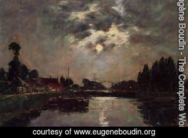 Eugène Boudin - Saint-Valery-sur-Somme, Moonrise over the Canal