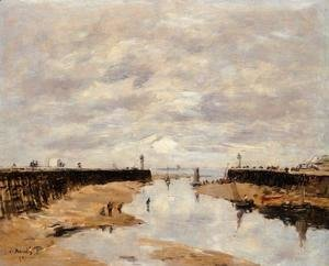 Eugène Boudin - The Jetties, Low Tide, Trouville