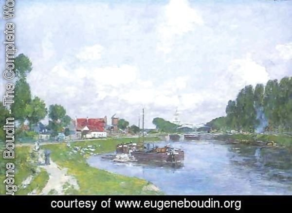 Eugène Boudin - Barges on the Canal, Saint-Valery-sur-Somme