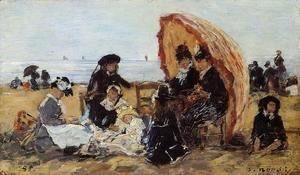 Eugène Boudin - Trouville, on the Beach Sheltered by a Parasol