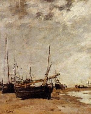 Eugène Boudin - Low Tide, Grounded Sailboats