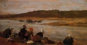 Eugène Boudin - Laundresses on the Banks of the Touques VIII