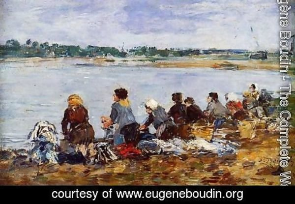 Eugène Boudin - Laundresses on the Banks of the Touques IX