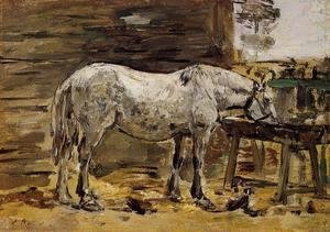 Eugène Boudin - White Horse at the Feeding Trough